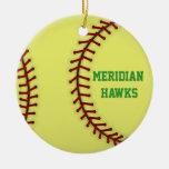 Meridian Hawks Softball Double-Sided Ceramic Round Christmas Ornament