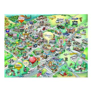 Meridian Idaho Cartoon Map Postcard