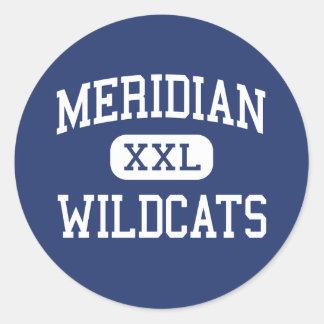 Meridiano - gatos monteses - alto - Mississippi Pegatina Redonda