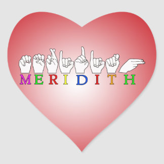 MERIDITH ASL FINGERSPELLED SIGN NAME STICKERS