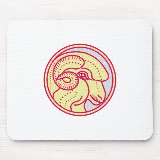 Merino Ram Sheep Head Circle Mono Line Mouse Pad