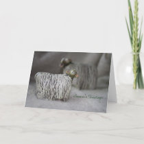 Merino Sheep in Winter greeting card