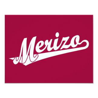 Merizo script logo in white card