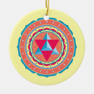 Merkaba on Flower of Life Ceramic Ornament