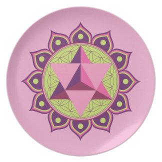 Merkaba on Flower of Life Melamine Plate