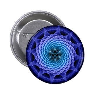 Merkaba Spiral Mandala Blue ( Fractal Geometry ) Button