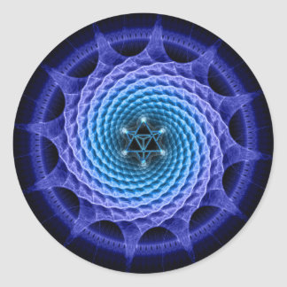 Merkaba Spiral Mandala Blue ( Fractal Geometry ) Classic Round Sticker