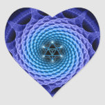 Merkaba Spiral Mandala Blue ( Fractal Geometry ) Heart Sticker