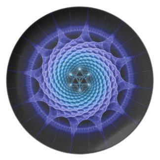 Merkaba Spiral Mandala Blue ( Fractal Geometry ) Melamine Plate