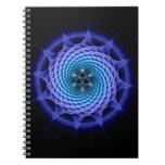 Merkaba Spiral Mandala Blue ( Fractal Geometry ) Notebook