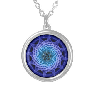 Merkaba Spiral Mandala Blue ( Fractal Geometry ) Round Pendant Necklace