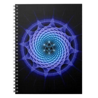 Merkaba Spiral Mandala Blue ( Fractal Geometry ) Spiral Notebook