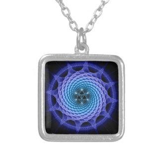 Merkaba Spiral Mandala Blue ( Fractal Geometry ) Square Pendant Necklace
