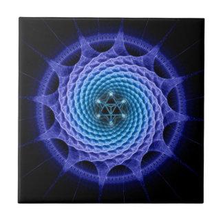 Merkaba Spiral Mandala Blue ( Fractal Geometry ) Tile