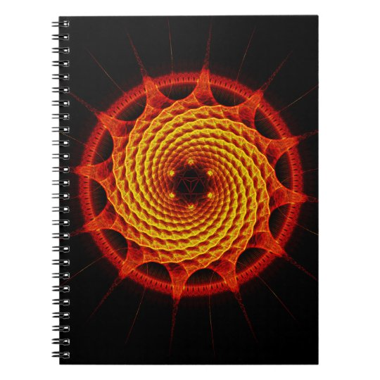 Merkaba Spiral Mandala Red ( Fractal Geometry ) Notebook