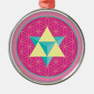Merkaba with Flower of life Metal Ornament