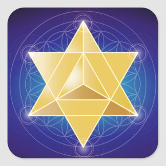 Merkaba with Flower of Life Square Sticker