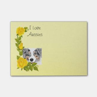 Merle azul Aussie y rosas amarillos Post-it Notas
