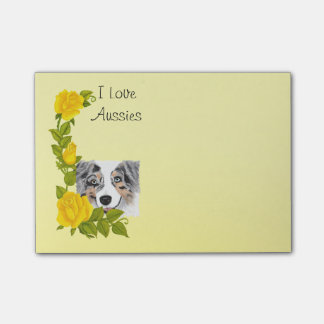 Merle azul Aussie y rosas amarillos Post-it® Notas