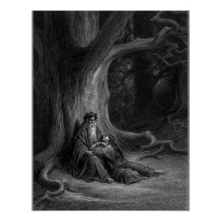 Merlin and Vivien by Gustave Doré 1868 Poster