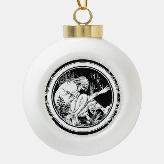 Merlin Art Nouveau fantasy Ceramic Ball Christmas Ornament