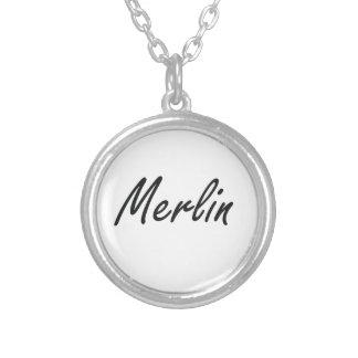 Merlin Artistic Name Design Round Pendant Necklace