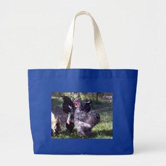 """Merlin"" Blue Silkie Bantam Rooster Large Tote Bag"