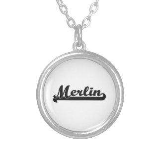 Merlin Classic Retro Name Design Round Pendant Necklace