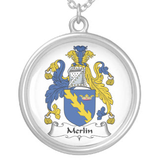 Merlin Family Crest Round Pendant Necklace
