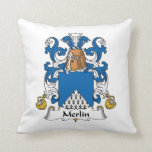 Merlin Family Crest Throw Pillows