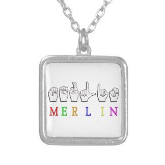 MERLIN FINGERSPELLED ASL NAME SIGN SQUARE PENDANT NECKLACE