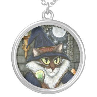 Merlin Magician Wizard Cat Magic Sorcerer Fantasy  Round Pendant Necklace