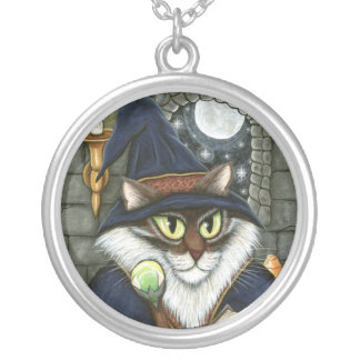 Merlin Magician Wizard Cat Magic Sorcerer Fantasy  Round Pendant Necklace