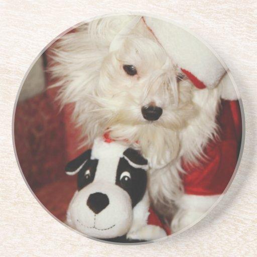 """Merlin Meets """"Santa and his Reindeer"""" Drink Coaster"""