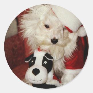 Merlin Meets Santa and his Reindeer Round Sticker