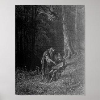Merlin teaching young Arthur Poster