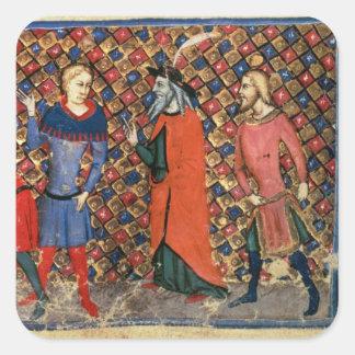 Merlin tutoring Arthur Square Sticker