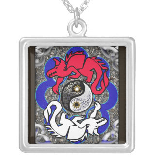 merlin's dragons square pendant necklace