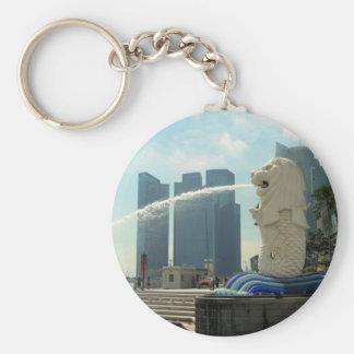 Merlion Sculpture Singapore Basic Round Button Keychain