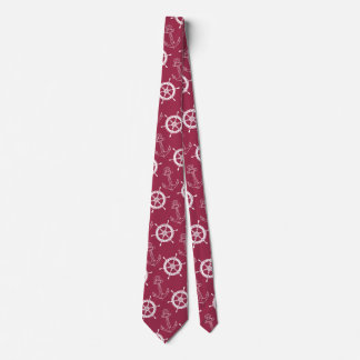 Merlot and White Nautical Tie