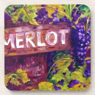 Merlot en la vid posavasos de bebidas