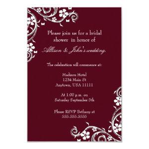 Merlot Floral Swirls Bridal Shower Invitation 3.5