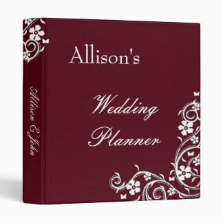 Merlot Floral Swirls Wedding Planner Binder