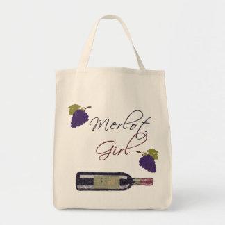 Merlot Girl - Vintage Wine Lovers Canvas Bags