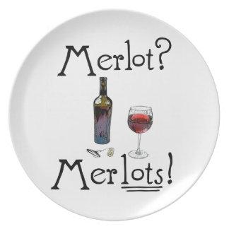 ¿Merlot? ¡Merlots! Chiste divertido del vino para  Platos De Comidas