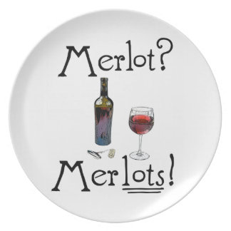 Merlot? Merlots! Funny wine joke for wine lovers Plate