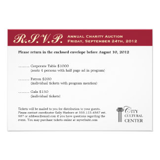 Merlot red business gala event corporate RSVP Custom Announcements