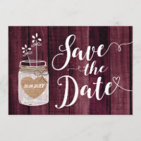 Merlot Red Rustic Mason Jar Wedding Save the Date