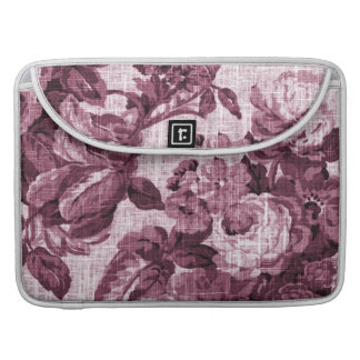 Merlot Red Vintage Floral Toile No.5 Sleeve For MacBook Pro