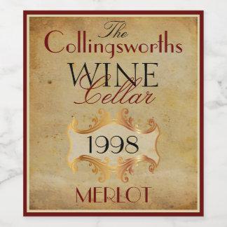 Merlot Red Wine Bottle Label Personalized